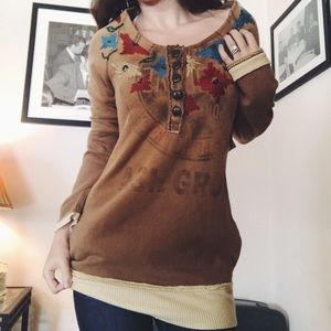 FREE PEOPLE • Cozy Embroidered Boho Pullover